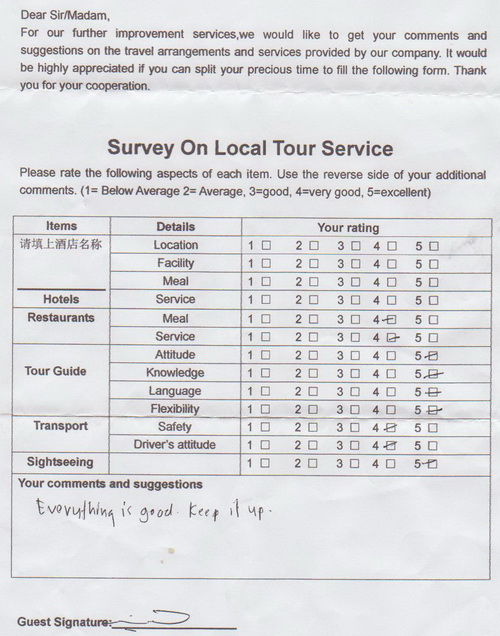 3 Days Shanghai Tour (without hotel) customers feedback