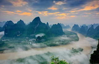 Sunrise, Bird's eye view of Li River